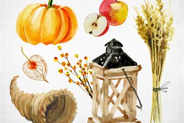 6款水彩绘感恩节元素矢量素材