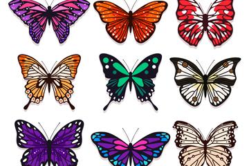 9款彩色蝴蝶设计矢量素材