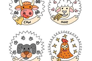 4款彩绘动物头像标签矢量素材