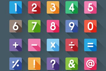 10方形数字和15个符号矢量素材