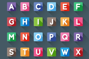 26个方形大写字母矢量素材