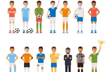 14款创意足球运动人物矢量素材