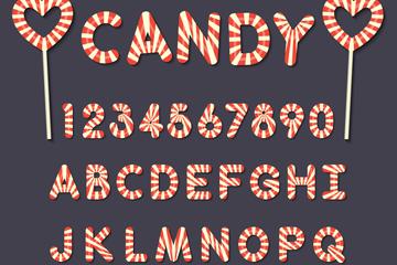 26个糖果大写字母和10个数字矢量