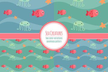 4款彩色海洋动物无缝背景矢量图