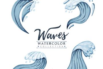 4款蓝色手绘海浪矢量素材