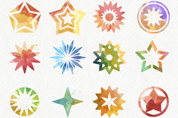 16款彩绘星星图标矢量素材