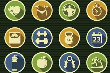16款精致健身元素图标矢量素材