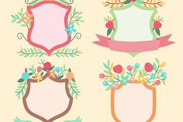 4款彩色花卉装饰盾牌标签矢量图