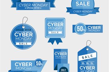 8款蓝色网络星期一标签矢量图