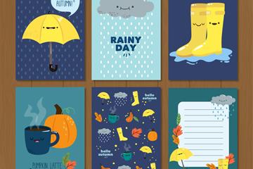 6款可爱秋季卡片矢量素材