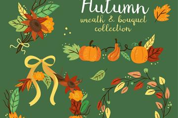 4款彩色秋季花环和花束矢量素材