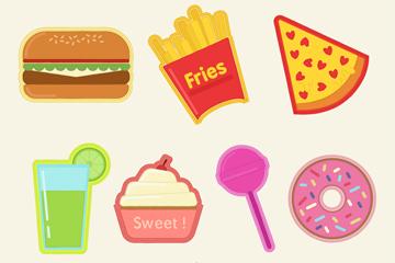 7款美味食物徽章补丁矢量图