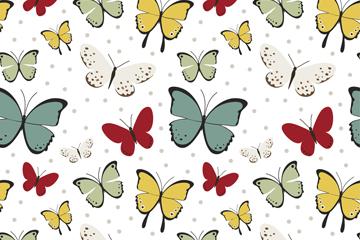 彩色飞舞蝴蝶无缝背景设计矢量图
