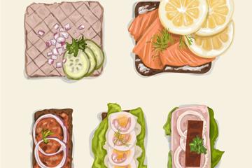 5款美味菜品设计矢量素材
