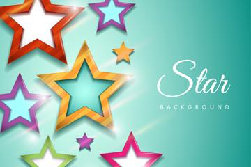 彩色星星贴纸背景矢量素材
