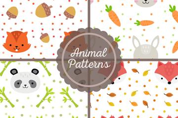 4款可爱动物头像无缝背景矢量图