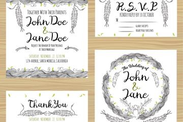 4款手绘羽毛婚礼卡片矢量素材