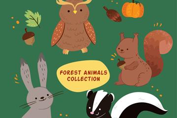 4款卡通森林动物设计矢量素材