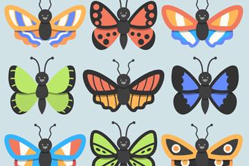 9款卡通蝴蝶设计矢量素材