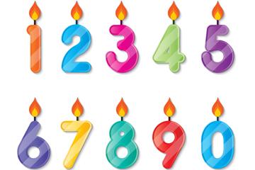 10个彩色糖果数字蜡烛矢量素材