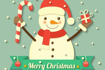 可爱笑脸圣诞雪人矢量素材