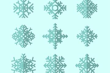 9款扁平化雪花设计矢量素材