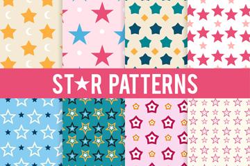 8款彩色星星无缝背景矢量素材