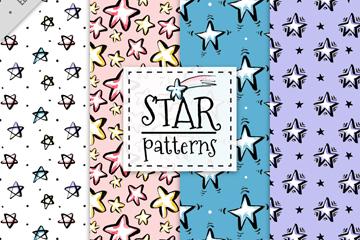 4款彩绘星星无缝背景矢量素材