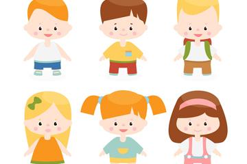 6款创意儿童形象设计矢量素材