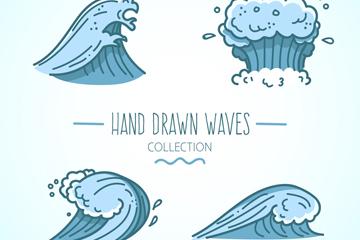 4款蓝色海浪浪花设计矢量素材