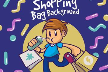 卡通双手提满购物袋的男子矢量图