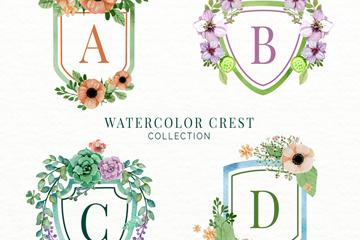 4款彩色花卉装饰字母纹章矢量图