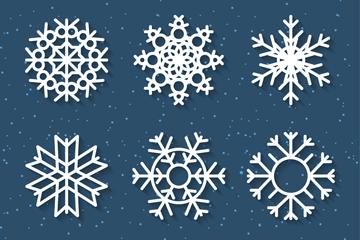 9款精致白色雪花花纹设计矢量素