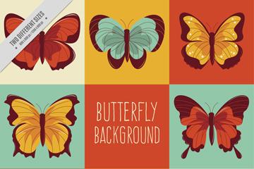 8款彩色美丽蝴蝶设计矢量素材