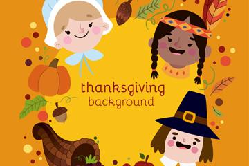 3个可爱感恩节人物头像矢量素材
