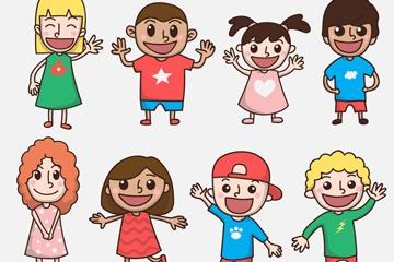 8款手绘微笑孩子设计矢量素材
