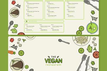 彩绘素食餐馆菜单正反面矢量图