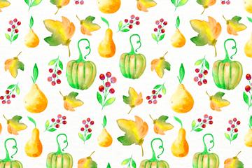 水彩绘南瓜枫叶和梨无缝背景矢量