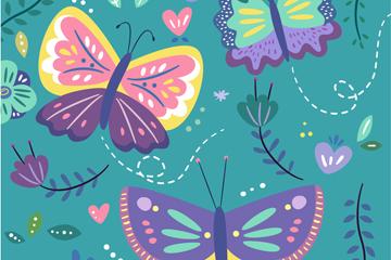3只彩色蝴蝶和花卉矢量素材
