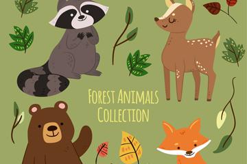 4种可爱森林动物和叶子矢量素材
