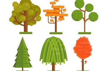 6款彩色扁平化树木矢量素材