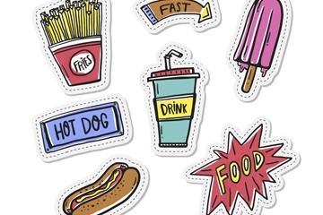 7款彩绘快餐食物徽章补丁矢量素材