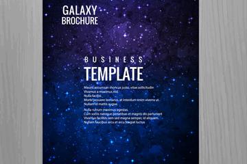 蓝色银河星星商务宣传册矢量素材