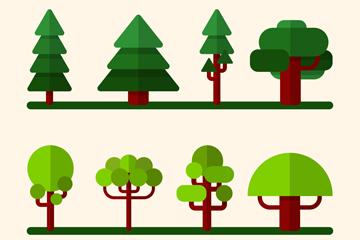 8款扁平化绿树设计矢量素材