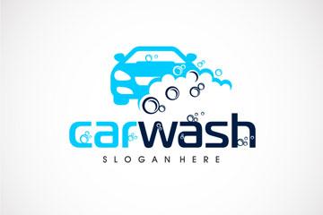 蓝色车辆洗车标志矢量素材