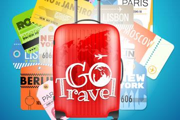 红色行李箱和多张飞机票矢量素材