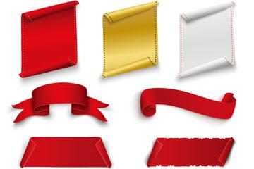 7款空白丝带条幅和纸卷矢量素材