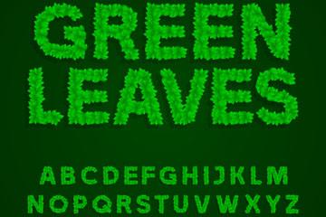 40个绿色叶子英文字母数字和符号
