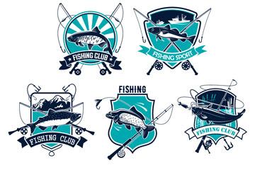 8款创意钓鱼俱乐部标签标志矢量