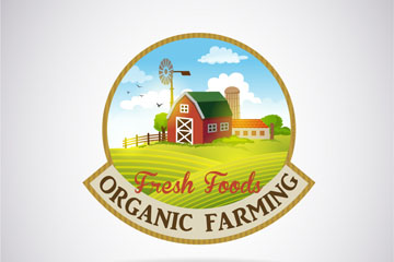 新鲜农场食物标签矢量素材